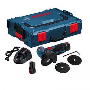 Bosch Professional 06019F2002 Meuleuse Angulaire sans-fil GWS 12V-76 2x2,5 Ah L-BOXX, 10.8 V, Bleu de la marque Bosch-Professional image 0 produit