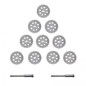 Disque Diamant 22mm [ 10 Pcs ] - APLUS Coupe de Diamant Matériaux + 2 x Mandrin Pour la Coupe de Verre, de Céramique, de Bois, de PVC, de Plastique, de Carbures, de Roches, de Métal. Etc. de la marque APlus image 0 produit