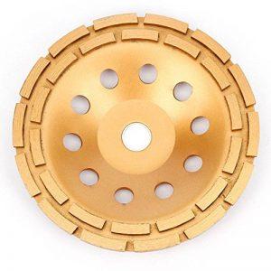 Disque Diamant 230 mm à Meuler Béton - APLUS Meule Abrasive Universal à Poncer Béton 125 x 22,2 Pour Béton, Granit, Pierre, Brique, Maçonnerie - 2 Rangées Diamantés de la marque APlus image 0 produit