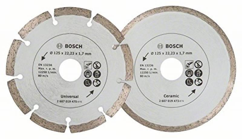 Bosch 2x Diamant Meule de tronçonnage Ø 125 mm Meule de tronçonnage pour Pierre carrelage 2607019484