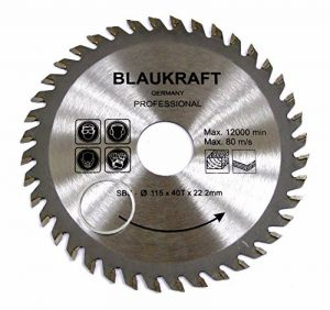 Lame de scie pour MEULEUSE 115mm pour bois Disques de coupe circulaire 115x22x40T de la marque Blaukraft image 0 produit