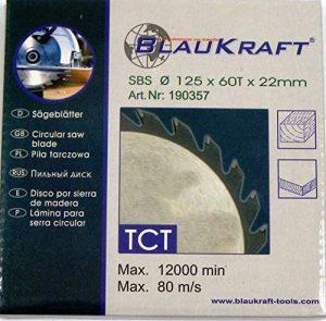 Lame de scie pour MEULEUSE 125mm pour bois Disque de coupe circulaire 125x22x60T TCT de la marque Blaukraft image 0 produit