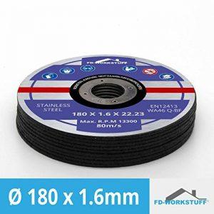 Lot de 10 disques Flex 180 x 1,6 mm ( 22,23 mm ) Acier Inoxydable et acier inoxydable, métal, fer de la marque FD-Workstuff image 0 produit