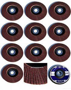 Lot de 10 à lamelles standard et abrasives pour meuleuse d'angle à bois et à métal, diamètre 125 mm x 22,23 mm, grain 80, marron de la marque TD-Warenhandel image 0 produit