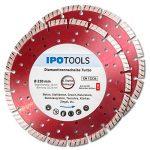 Lot de 2 disques à tronçonner diamantés-Turbo-Pour béton, béton cellulaire et pierre-Segment de 10 mm de la marque IPOTOOLS image 1 produit