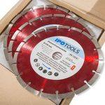 Lot de 3 disques à tronçonner diamantés 230 pour béton 10 mm de la marque IPOTOOLS image 1 produit