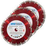 Lot de 3 disques à tronçonner diamantés 230 pour béton 10 mm de la marque IPOTOOLS image 3 produit