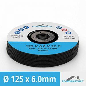 Lot de 5 Disque à ébarber métal inox Ø125 x 6 mm pour meuleuse d'angle de la marque FD-Workstuff image 0 produit