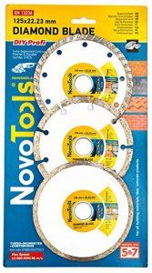 NOVOTOOLS Disques Diamantés à Tronçonner 125 x 22,2 mm Lot de 3 pièces - Segmenté, Turbo, Céramique (Tuile). Diamant Meuleuse d'Angle Des Lames Pour La Pierre, Briques, Carreaux Et Béton de la marque NOVOTOOLS image 0 produit