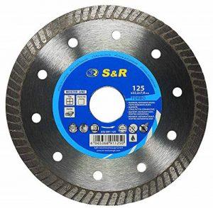 S&R Disque Diamant 125 Turbo Lame diamantée à tronçonner CERAMIQUE, Tuiles, Marbre, Granit, Calcaire et autres matériaux durs. Qualité professionnelle de la marque S-R image 0 produit