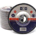 SBS Disques abrasifs à lamelles | Ø 115mm|Grain 40à 120|Lot de 10|Marron & Bleu Inox Métal & Bois Meuleuse d'angle roue de ponçage, Braun Korn 80, 0 de la marque SBS image 1 produit