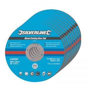 Silverline 447131 10 disques plats à tronçonner le métal 115 x 3 x 22,2 mm de la marque Silverline image 0 produit
