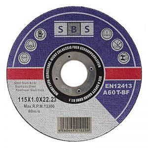 T-BF Lot de 100disques à tronçonner inox 115x 1mm Pour disqueuse ou meuleuse d'angle de la marque SBS image 0 produit